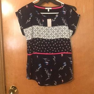 Maurices Small Shirt NWT Navy Blue Floral